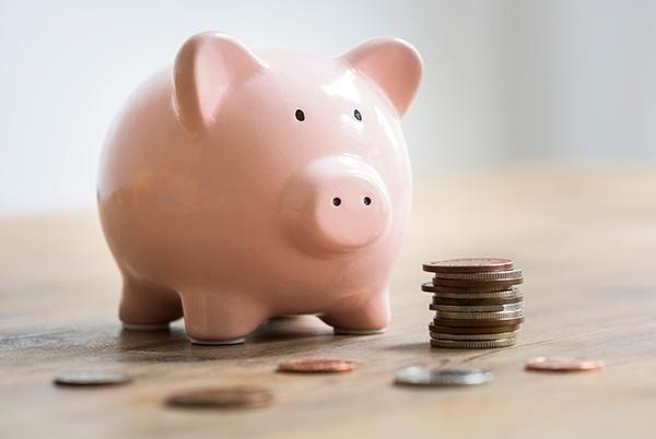 Świnka skarbonka obok monet